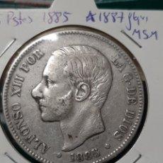 Moedas de Espanha: 5 PESETAS 1885 *1887 FLOJITAS MSM. Lote 245973370