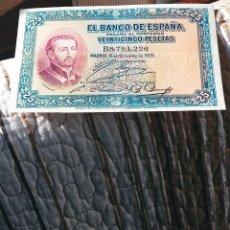 Monedas de España: BILLETE DE 25 PESETAS. S.FCO.JAVIER. 12.10.1.926. MBC++/EBC. DESCRIPCION Y FOTOS.. Lote 246709050