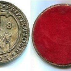 Monedas de España: 2 POSA-VASOS METALICOS CON REVERSO DE 8 REALES DE CARLOS II 1687, 73 M/M DIÁMETRO. Lote 249449190
