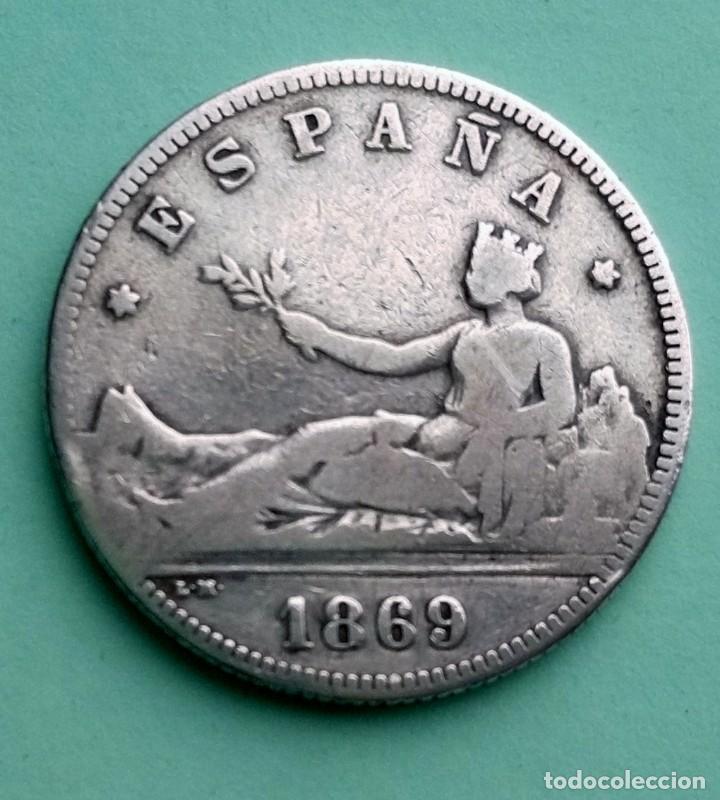 MONEDA DE 2 PESETAS 1869 SN-M GOBIERNO PROVISIONAL PLATA 835 MILESIMAS (Numismática - España Modernas y Contemporáneas - De Isabel II (1.834) a Alfonso XIII (1.931))