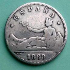 Monedas de España: MONEDA DE 2 PESETAS 1869 SN-M GOBIERNO PROVISIONAL PLATA 835 MILESIMAS. Lote 251035500