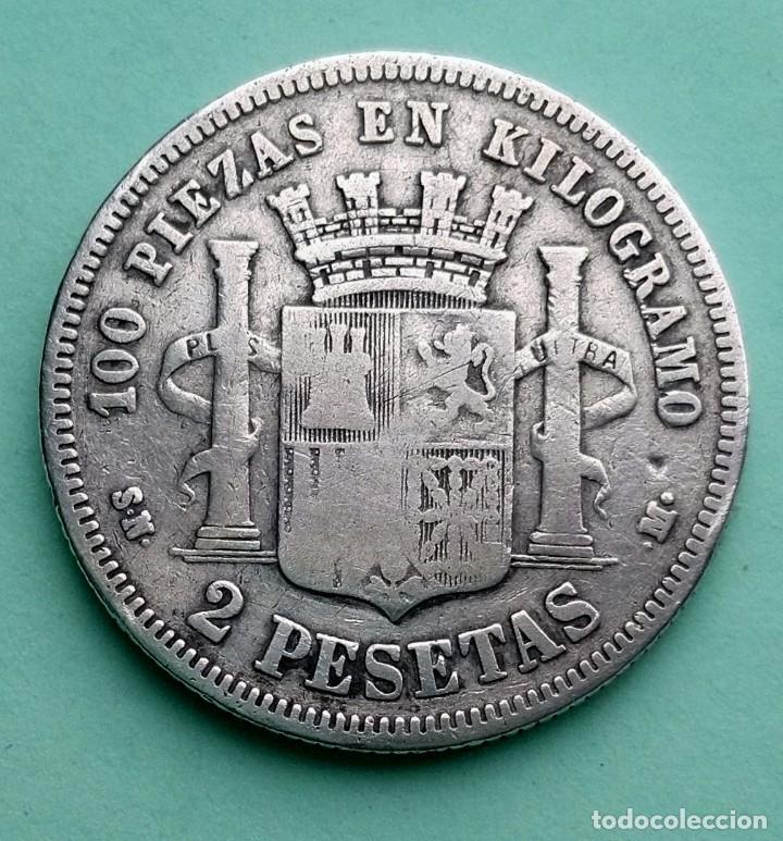 Monedas de España: MONEDA DE 2 PESETAS 1869 SN-M GOBIERNO PROVISIONAL PLATA 835 MILESIMAS - Foto 2 - 251035500