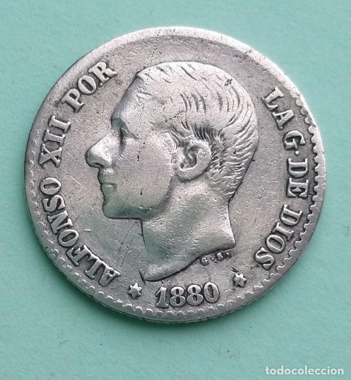 ANTIGUA MONEDA DE ESPAÑA 50 CENTIMOS 1880 ALFONSO XII, PLATA 835 MS-M (Numismática - España Modernas y Contemporáneas - De Isabel II (1.834) a Alfonso XIII (1.931))