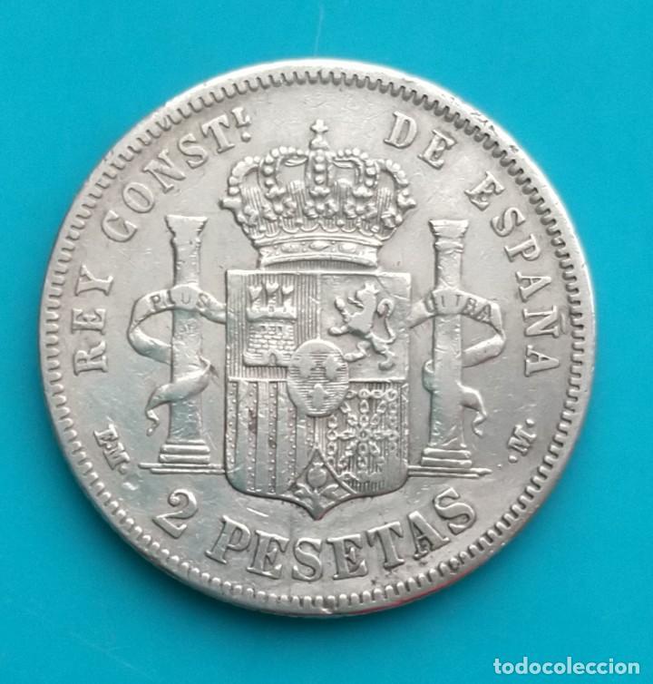 Monedas de España: MONEDA DE 2 PESETAS 1879 *18*7 EM-M ALFONSO XII PLATA 835 MILESIMAS - Foto 3 - 251911245
