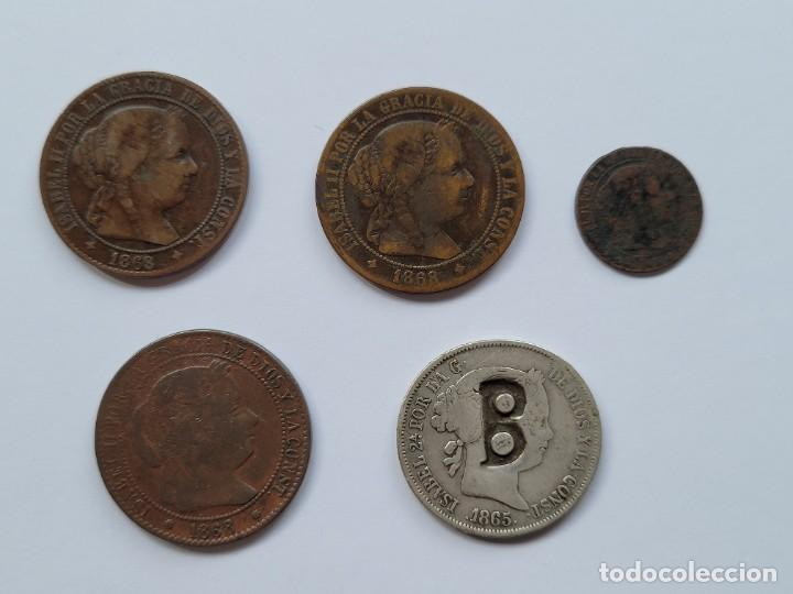 LOTE ISABEL II. 5 MONEDAS. UNA DE DOS REALES CONTRAMARCA B INEDITA (Numismática - España Modernas y Contemporáneas - De Isabel II (1.834) a Alfonso XIII (1.931))
