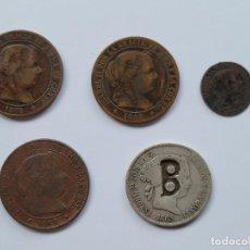 Monedas de España: LOTE ISABEL II. 5 MONEDAS. UNA DE DOS REALES CONTRAMARCA B INEDITA. Lote 252674195