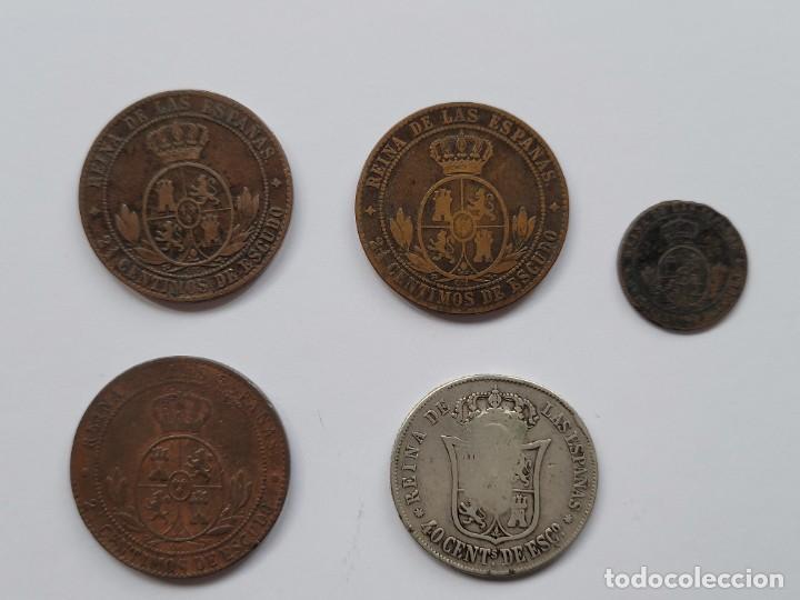 Monedas de España: lote Isabel II. 5 monedas. Una de dos reales contramarca B INEDITA - Foto 2 - 252674195