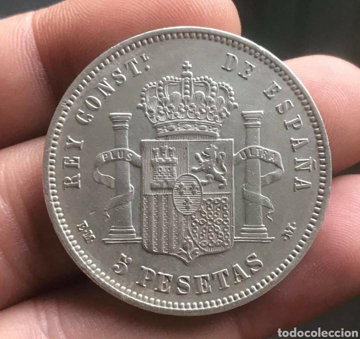 Monedas de España: MONEDA 5 PESETAS 1878 ALFONSO XII , ESTRELLAS VISIBLES 18 78 , DURO DE PLATA , MBC+ ,ORIGINAL, EM M - Foto 2 - 253841525