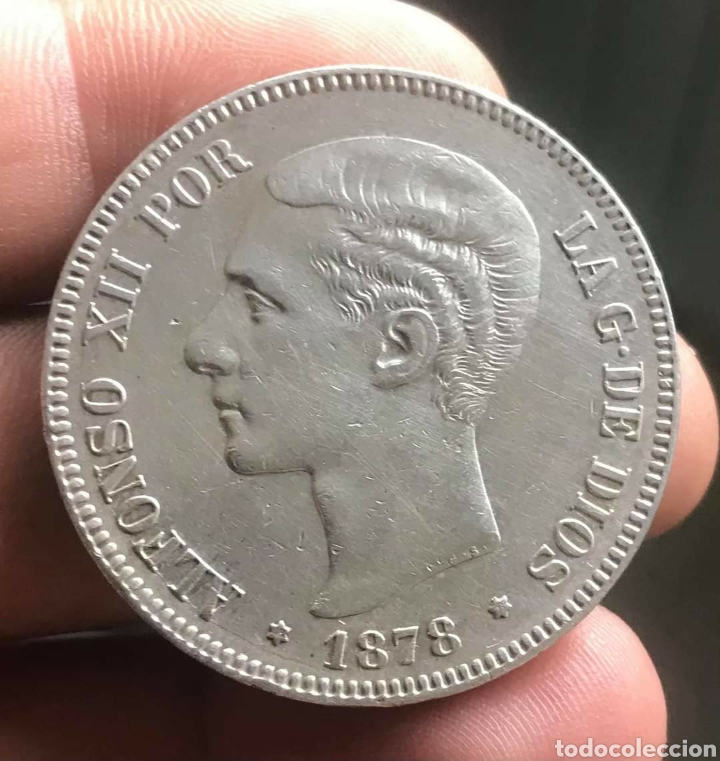 MONEDA 5 PESETAS 1878 ALFONSO XII , ESTRELLAS VISIBLES 18 78 , DURO DE PLATA , MBC+ ,ORIGINAL, EM M (Numismática - España Modernas y Contemporáneas - De Isabel II (1.834) a Alfonso XIII (1.931))