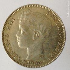 Monedas de España: ALFONSO XIII 1 PESETA PLATA 1900 *19-(00) SMV PRECIOSO EJEMPLAR SC- CON BRILLO ORIGINAL Y SUAVE TONO. Lote 220668886