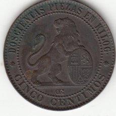 Monedas de España: I REPUBLICA: 5 CENTIMOS 1870. Lote 254268455