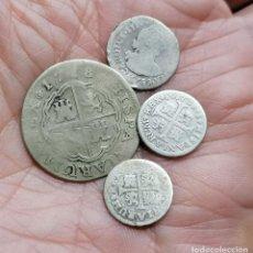 Monnaies d'Espagne: LOTE 4 MONEDAS DE PLATA 2 REALES Y MEDIOS REALES. Lote 254411355
