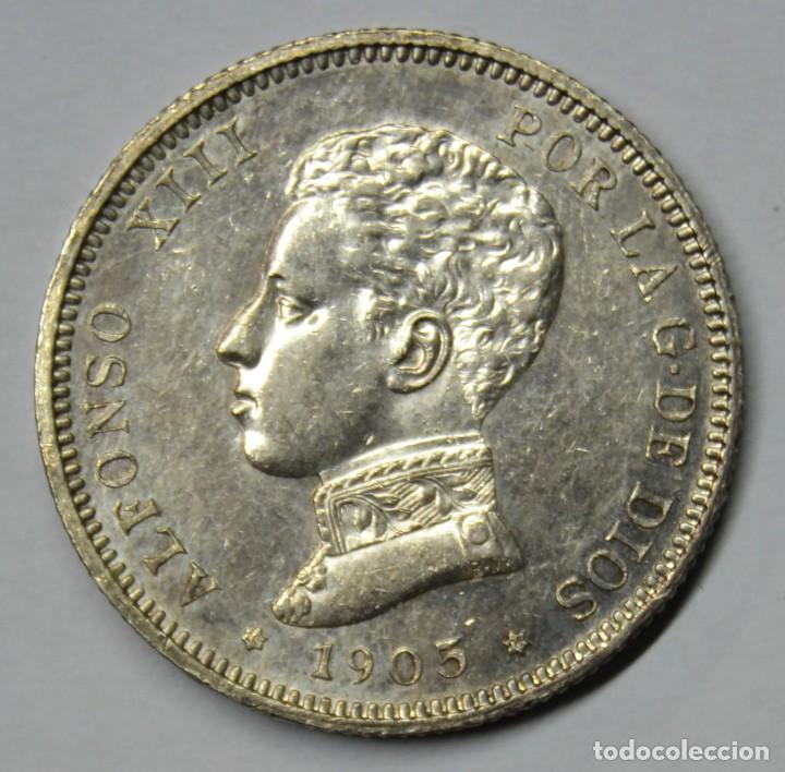 ALFONSO XIII, 1905. 2 PESETAS DE PLATA 1905 * 19 - 05. CECA DE MADRID-S.M.V. LOTE 3780 (Numismática - España Modernas y Contemporáneas - De Isabel II (1.834) a Alfonso XIII (1.931))