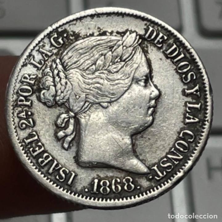 MONEDA DE PLATA DE 20 CÉNTIMOS DE PESO AÑO 1868 MANILA ISABEL II (Numismática - España Modernas y Contemporáneas - De Isabel II (1.834) a Alfonso XIII (1.931))