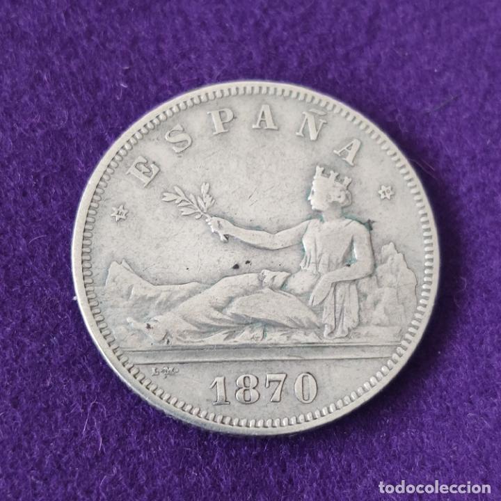 MONEDA DE 2 PESETAS DEL GOBIERNO PROVISIONAL. PLATA. 1870 *18-70. SNM. ESPAÑA. ORIGINAL. (Numismática - España Modernas y Contemporáneas - De Isabel II (1.834) a Alfonso XIII (1.931))