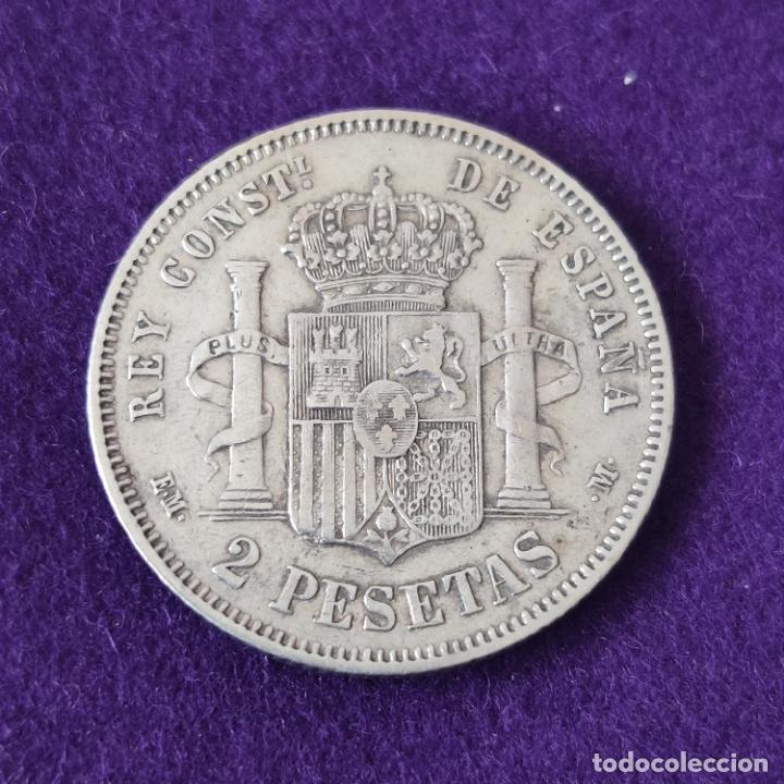 Monedas de España: MONEDA DE 2 PESETAS DE ALFONSO XII. PLATA. 1879 *_-79. ESPAÑA. ORIGINAL. - Foto 2 - 254940370