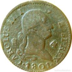 Monedas de España: ESPAÑA, CARLOS IV (1788-1808) 4 MARAVEDÍS - 1801 SEGOVIA, CAL-1513. (VER DESCRIPCIÓN Y FOTOS).. Lote 255014600