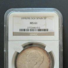 Monedas de España: ALFONSO XIII - 5 PESETAS DE PLATA - AÑO 1898*98 - ENCAPSULADA MS61 - SIN CIRCULAR -. Lote 255002190