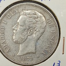 Monete da Spagna: MONEDA 5 PESETAS. DURO PLATA. AMADEO I, 1871. ESTRELLAS VISIBLES 18 / 71. BUEN ESTADO.. Lote 257640250