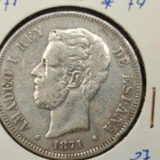 Monete da Spagna: MONEDA 5 PESETAS. DURO PLATA. AMADEO I, 1874. ESTRELLAS VISIBLES 8 / 74. BUEN ESTADO.. Lote 257642720