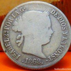Monedas de España: ESPAÑA, 10 CENTAVOS DE PESO, 1868. ISABEL II. ISLAS FILIPINAS. PLATA. (1023). Lote 257880005