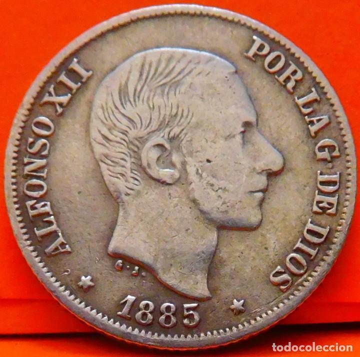 ESPAÑA, 10 CENTAVOS DE PESO, 1885. ALFONSO XII. ISLAS FILIPINAS. PLATA. (1028) (Numismática - España Modernas y Contemporáneas - De Isabel II (1.834) a Alfonso XIII (1.931))