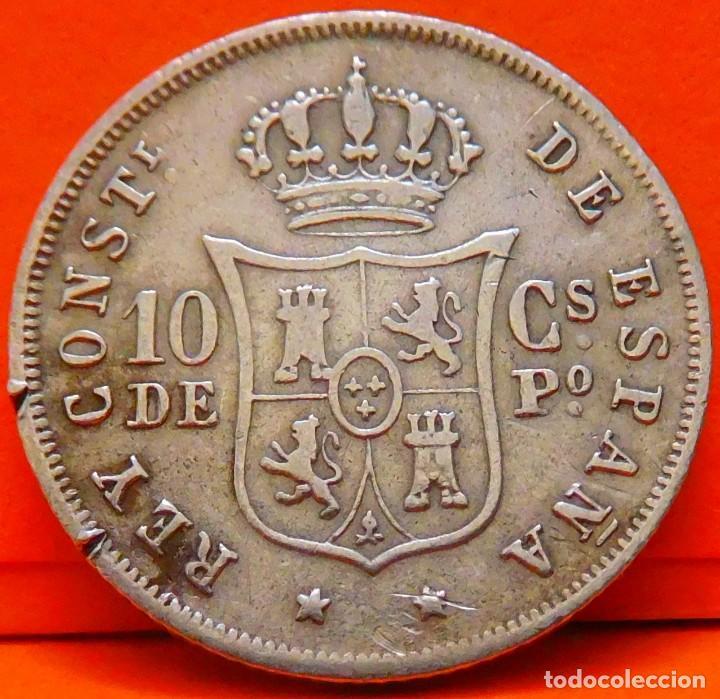 Monedas de España: ESPAÑA, 10 CENTAVOS DE PESO, 1885. ALFONSO XII. ISLAS FILIPINAS. PLATA. (1028) - Foto 2 - 257888145