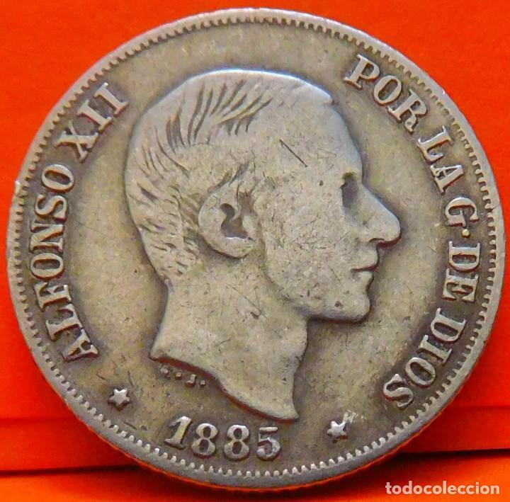 ESPAÑA, 10 CENTAVOS DE PESO, 1885. ALFONSO XII. ISLAS FILIPINAS. PLATA. (1030) (Numismática - España Modernas y Contemporáneas - De Isabel II (1.834) a Alfonso XIII (1.931))