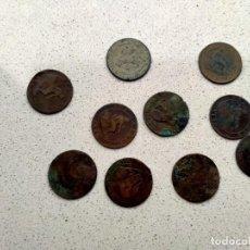 Monedas de España: 10 MONEDAS COBRE 2 CENTIMOS 1870. Lote 258172525