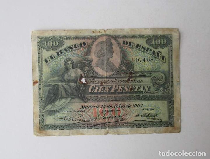 BILLETE DE 100 PESETAS DEL AÑO 1907 (Numismática - España Modernas y Contemporáneas - De Isabel II (1.834) a Alfonso XIII (1.931))