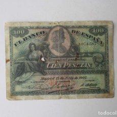 Monedas de España: BILLETE DE 100 PESETAS DEL AÑO 1907. Lote 259274315