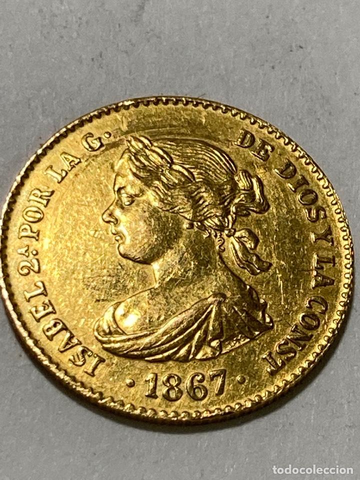 MONEDA ORO 4 ESCUDOS ISABEL II . AÑO 1867 ESPAÑA (Numismática - España Modernas y Contemporáneas - De Isabel II (1.834) a Alfonso XIII (1.931))