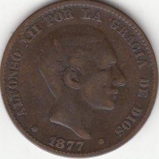 Monedas de España: ALFONSO XII: 10 CENTIMOS 1877 BARCELONA OM. Lote 259920470