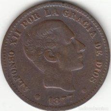 Monedas de España: ALFONSO XII: 5 CENTIMOS 1877 BARCELONA OM. Lote 259923905