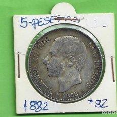 Monete da Spagna: PLATA-ESPAÑA. 5 PESETAS 1882 MSM ALFONSO XII. Lote 260552610