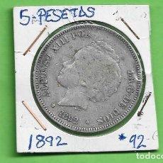 Monete da Spagna: PLATA-ESPAÑA. 5 PESETAS 1892 *92 PGM ALFONSO XIII. Lote 260563045