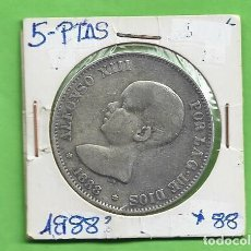 Monete da Spagna: PLATA-ESPAÑA. 5 PESETAS 1888 *88 MPM ALFONSO XIII. Lote 260565670