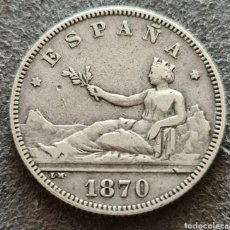Monete da Spagna: 2 PESETAS DE PLATA DE 1870 *18*74 MBC+. Lote 260575345