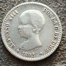 Monete da Spagna: MUY ESCASA , MONEDA DE 50 CENTIMOS DE 1892 *9*2 MBC+. Lote 260578135
