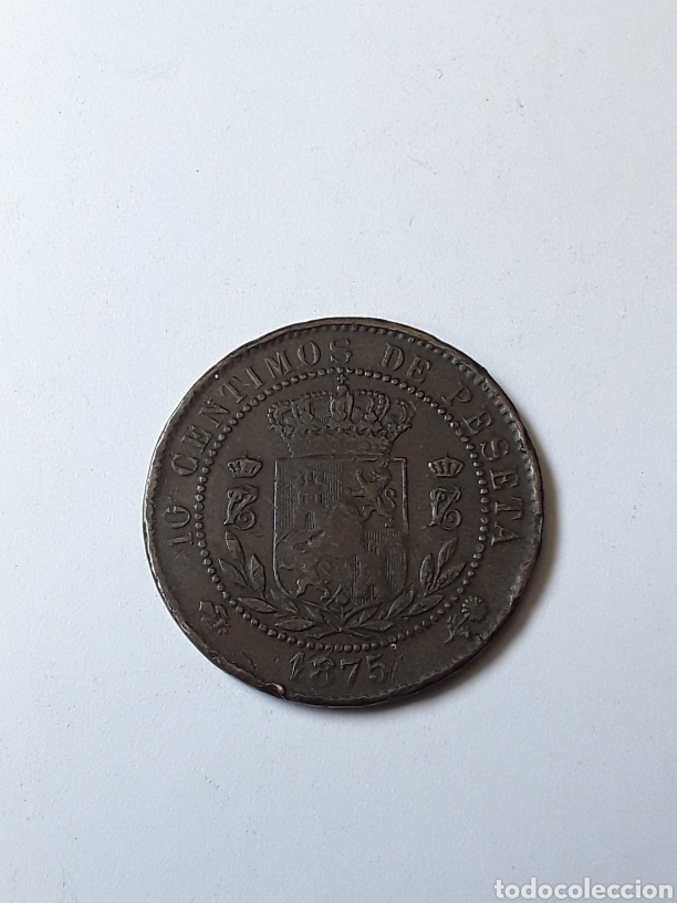 Monedas de España: CARLOS VII. 10 CENTIMOS.1875. - Foto 2 - 261102635