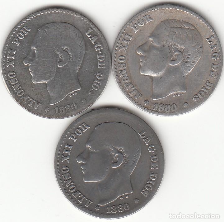 ALFONSO XII: 3 MONEDAS 50 CENTIMOS 1880 - PLATA (Numismática - España Modernas y Contemporáneas - De Isabel II (1.834) a Alfonso XIII (1.931))
