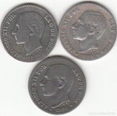 Monedas de España: ALFONSO XII: 3 MONEDAS 50 CENTIMOS 1880 - PLATA. Lote 261232890