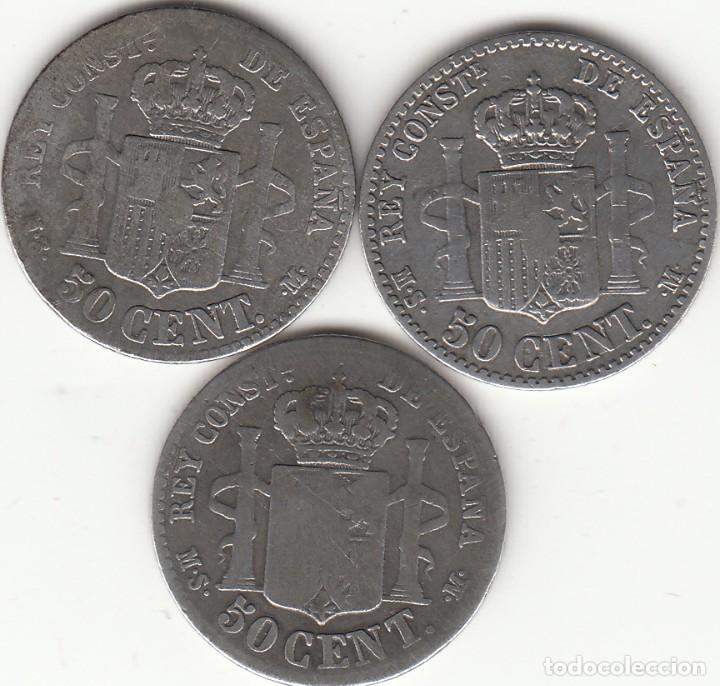 Monedas de España: ALFONSO XII: 3 MONEDAS 50 CENTIMOS 1880 - PLATA - Foto 2 - 261232890