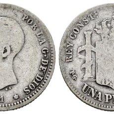 Monedas de España: ALFONSO XIII (1886-1931). 1 PESETA. 1891*01 MADRID. PGM. MBC-. Lote 261873780