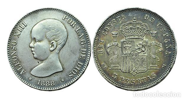 5 PESETAS 1888 *18*88, MPM (Numismática - España Modernas y Contemporáneas - De Isabel II (1.834) a Alfonso XIII (1.931))