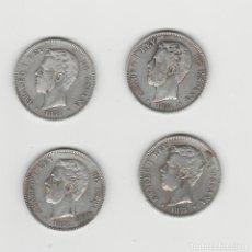 Monedas de España: LOTE DE 4 MONEDAS DE AMADEO I-5 PESETAS-1871*18-71. Lote 262276965