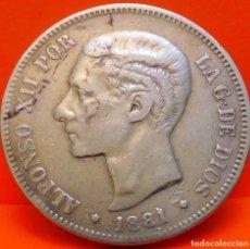 Monedas de España: ESPAÑA, 5 PESETAS, 1881. M.S.M. ALFONSO XII. PLATA. ESCASO. (1068). Lote 262325795