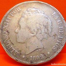 Monedas de España: ESPAÑA, 5 PESETAS, 1892. P.G.M. ALFONSO XIII. PLATA. (1071). Lote 262328025