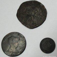 Monedas de España: CONJUNTO DE 3 MONEDAS ESPAÑOLAS ANTIGUAS EN COBRE, AUSTRIAS Y BORBONES. LOTE 3805. Lote 262362315