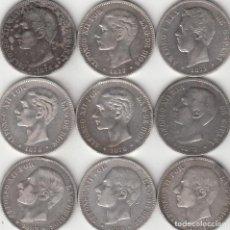 Monedas de España: 9 MONEDAS: 5 PESETAS AMADEO I - ALFONSO XII 1871 - 1885( PLATA ). Lote 262418925